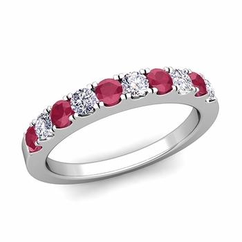 Brilliant Pave Diamond and Ruby Wedding Ring Band in Platinum