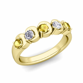 Organica 5 Stone Diamond and Yellow Sapphire Ring in 18k Gold, 3.5mm