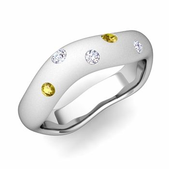 Curved Diamond and Yellow Sapphire Wedding Ring in Platinum, Satin Finish, 5mm