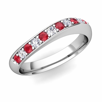 Curved Diamond and Ruby Wedding Ring in Platinum, 4mm