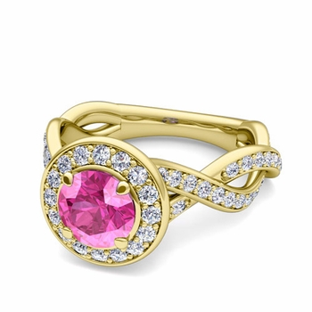 Infinity Diamond and Pink Sapphire Halo Engagement Ring in 18k Gold, 6mm