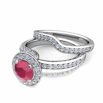 Wave Diamond and Ruby Engagement Ring Bridal Set in Platinum, 5mm