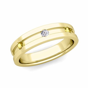 3 Stone Diamond and Yellow Sapphire Mens Wedding Ring in 18k Gold Comfort Fit Ring, 5mm