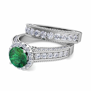 Bridal Set of Heirloom Diamond and Emerald Engagement Wedding Ring in Platinum, 6mm