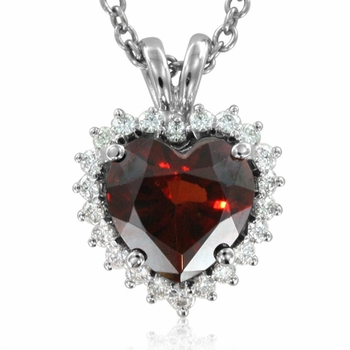 Diamond and Garnet Heart Necklace in 14k White or Yellow Gold, 8x8mm