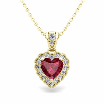 Milgrain Diamond and Garnet Heart Necklace in 18k Gold Pendant
