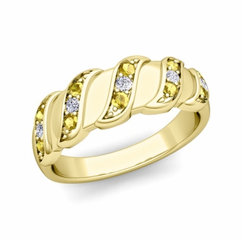 Twisted Diamond and Yellow Sapphire Wedding Ring Band in 18k Gold, 5mm