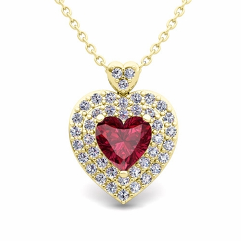 Two Heart Diamond and Garnet Necklace in 18k Gold Pendant