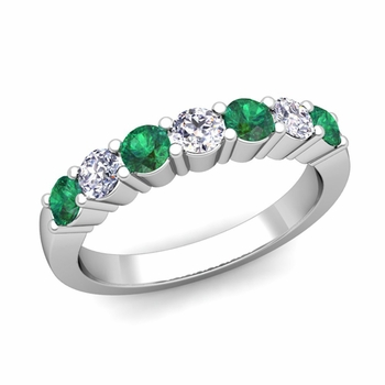 7 Stone Diamond and Emerald Wedding Ring in 14k Gold