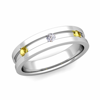 3 Stone Diamond and Yellow Sapphire Mens Wedding Ring in Platinum Comfort Fit Ring, 5mm
