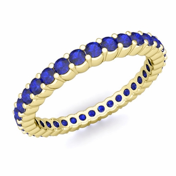 Petite Pave Blue Sapphire Eternity Ring in 18k Gold