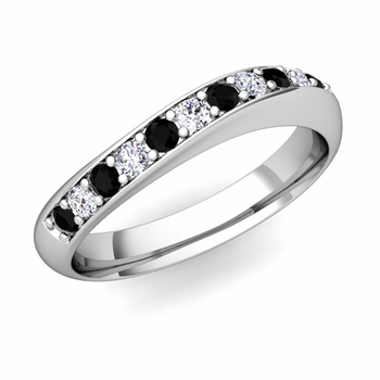 Curved Black and White Diamond Wedding Ring in 14k Gold, 4mm