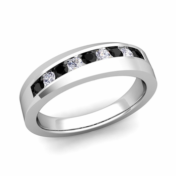 Channel Set Black and White Diamond Wedding Band in 14k Gold, 4mm