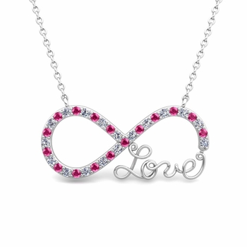 Infinity Diamond and Pink Sapphire Love Necklace in 14k Gold Pendant