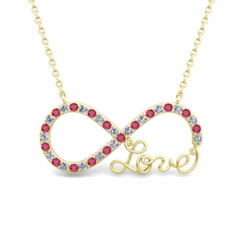 Infinity Diamond and Ruby Love Necklace in 18k Gold Pendant