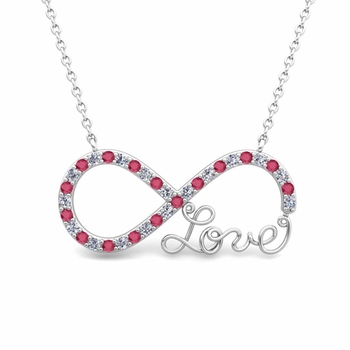Infinity Diamond and Ruby Love Necklace in 14k Gold Pendant