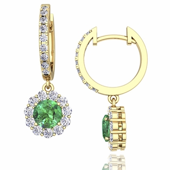 Halo Diamond and Emerald Hoop Earrings in 18k Gold, 5mm