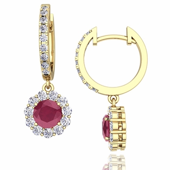 Halo Diamond and Ruby Hoop Earrings in 18k Gold, 5mm