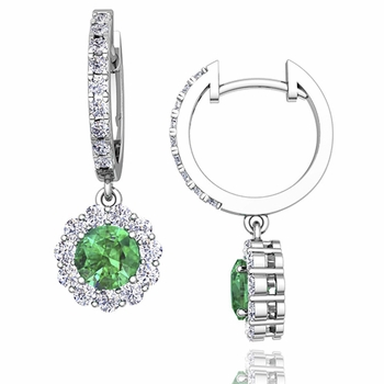 Halo Diamond and Emerald Hoop Earrings in 14k Gold, 5mm