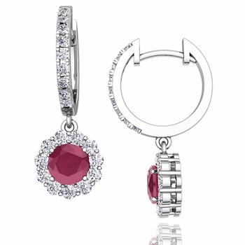 Halo Diamond and Ruby Hoop Earrings in 14k Gold, 5mm