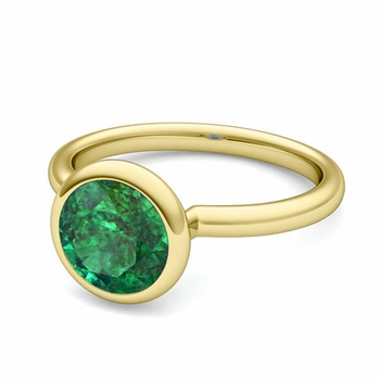 Bezel Set Solitaire Emerald Ring in 18k Gold, 7mm
