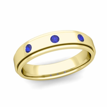3 Stone Sapphire Mens Wedding Ring in 18k Gold Comfort Fit Ring, 5mm