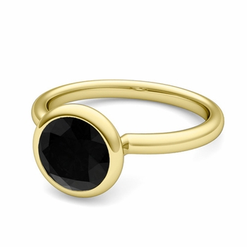 Bezel Set Solitaire Black Diamond Ring in 18k Gold, 7mm