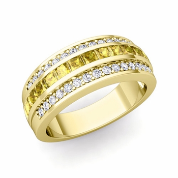 Princess Cut Yellow Sapphire and Pave Diamond Wedding Ring in 18k Gold, 7mm