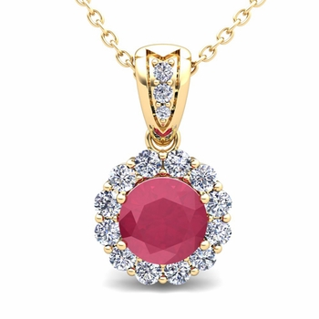 Diamond and Ruby Pendant in 18k Gold Halo Necklace 6mm