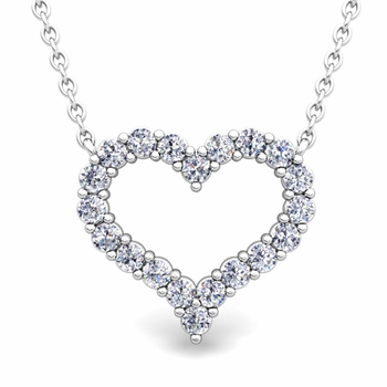 Pave Diamond Heart Necklace in 14k Gold Pendant