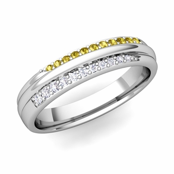 Brilliant Pave Diamond and Yellow Sapphire Wedding Ring in 14k Gold, 3.5mm