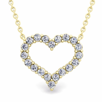 Pave Diamond Heart Necklace in 18k Gold Pendant