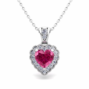 Milgrain Diamond and Pink Sapphire Heart Necklace in 14k Gold Pendant