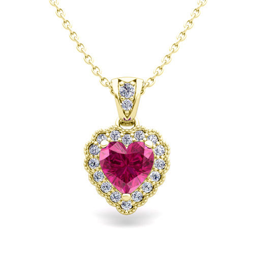 Milgrain Diamond and Pink Sapphire Heart Necklace 18k Gold ...