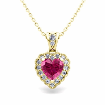Milgrain Diamond and Pink Sapphire Heart Necklace in 18k Gold Pendant