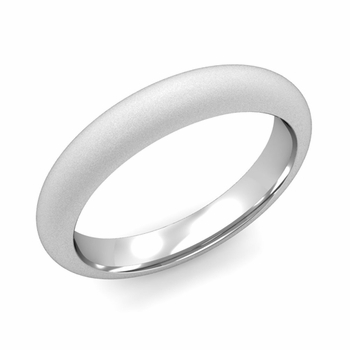 Dome Comfort Fit Wedding Band in 14k White or Yellow Gold, Satin Finish, 4mm