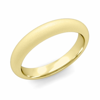Dome Comfort Fit Wedding Band in 18k White or Yellow Gold, Satin Finish, 4mm