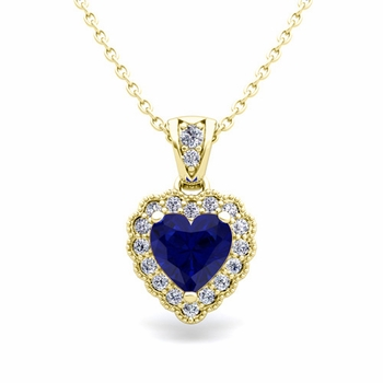 Milgrain Diamond and Sapphire Heart Necklace in 18k Gold Pendant