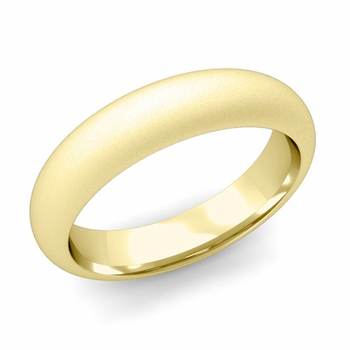 Dome Comfort Fit Wedding Band in 18k White or Yellow Gold, Satin Finish, 5mm