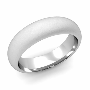 Dome Comfort Fit Wedding Band in 14k White or Yellow Gold, Satin Finish, 6mm