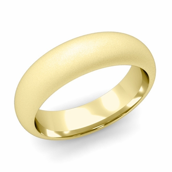 Dome Comfort Fit Wedding Band in 18k White or Yellow Gold, Satin Finish, 6mm