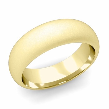 Dome Comfort Fit Wedding Band in 18k White or Yellow Gold, Satin Finish, 7mm