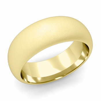 Dome Comfort Fit Wedding Band in 18k White or Yellow Gold, Satin Finish, 8mm