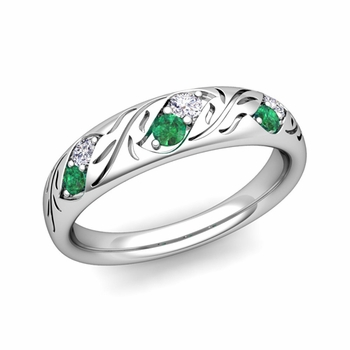 Vintage Inspired Diamond and Emerald Wedding Ring in Platinum 3.8mm
