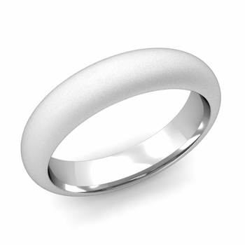 Dome Comfort Fit Wedding Band in Platinum, Satin Finish, 5mm