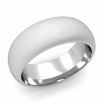 Dome Comfort Fit Wedding Band in Platinum, Satin Finish, 8mm