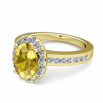 Diamond and Yellow Sapphire Halo Engagement Ring in 18k Gold Channel Set Ring, 9x7mm