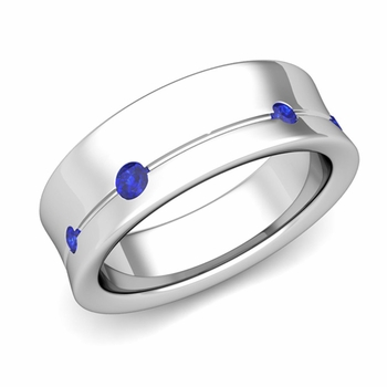Flush Set Sapphire Wedding Band Ring in 14k Gold, 5mm