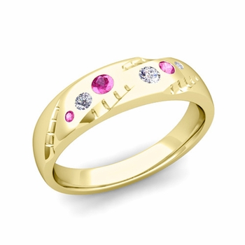 Mens Flush Set Diamond and Pink Sapphire Wedding Band in 18k Gold, 6mm