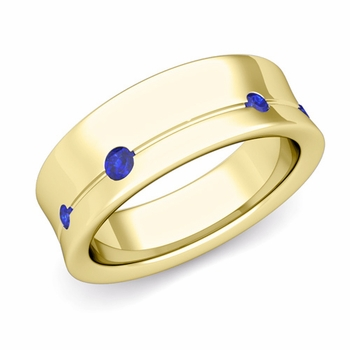 Flush Set Sapphire Wedding Band Ring in 18k Gold, 5mm